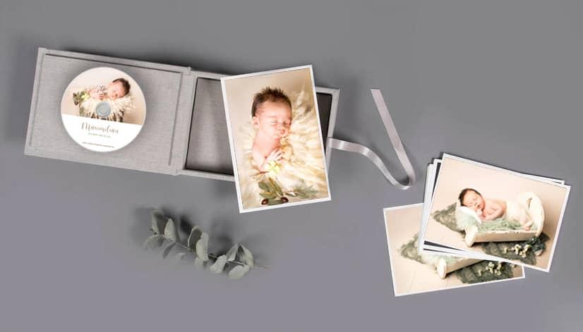 Leinenbox mit Fotogeschenken